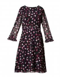 Black, Pink and White Petal Print Dress