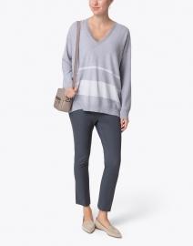 Fabiana Filippi - Grey and White Striped Lurex Cotton Wool Sweater
