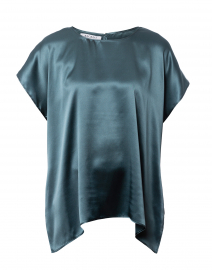 Blue Silk Charmeuse Blouse