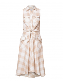 Beige and White Gingham Dress