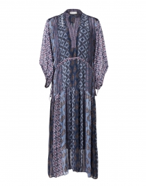 Melike Purple and Blue Geo Print Chiffon Dress
