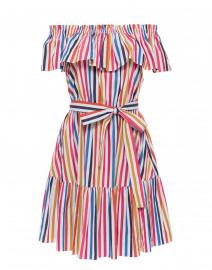 Multicolor Striped Off-the-Shoulder Cotton Dress