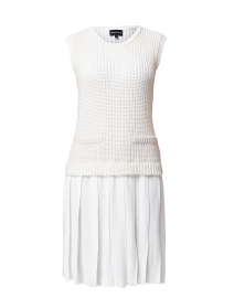 White Pleated Knit 2-in-1 Dress