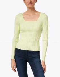 Ecru - Light Green Ribbed Sweater