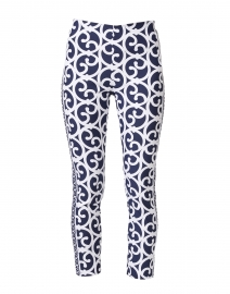 Navy and White Scroll Printed Pull On Pant