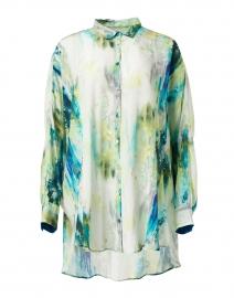Teal Lake Watercolor Print Silk Shirt