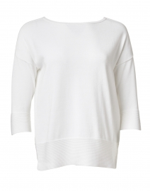 White Easy Rib Cotton Sweater