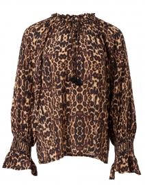 Lianna Animal Print Silk Top