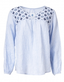 Blue Stripe Embroidered Peasant Blouse