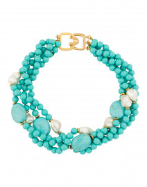 Turquoise and Pearl Multi-Strand Necklace