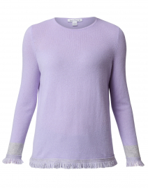 Lilac Cashmere Sweater with Grey Fringe Trim