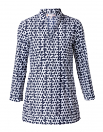 Chris Navy Chain Link Printed Nylon Top