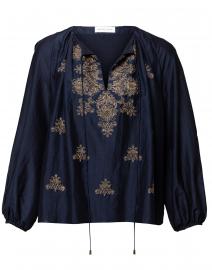 Ari Navy Gold Embroidered Cotton Silk Blouse