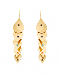 Multicolor Stone Gold Teardrop Earrings