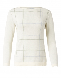 Cream Windowpane Pima Cotton Sweater