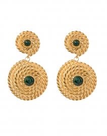 Lucky Green Stoned Gold Drop Earrings