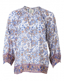 Courtney Blue Floral Cotton and Silk Top
