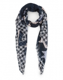 Blue and Grey Houndstooth Cashmere and Modal Scarf