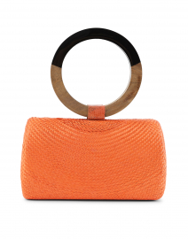 Denise Bun Orange Straw Top Handle Bag
