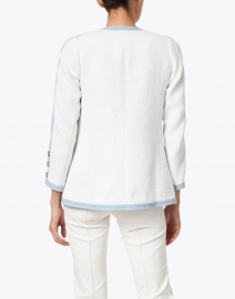 Edward Achour - White and Blue Cotton Tweed Jacket