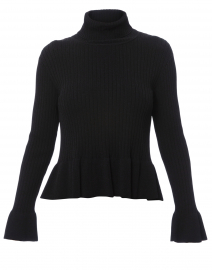 Black Turtleneck Peplum Sweater