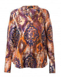 Orange and Indigo Printed Silk Blouse