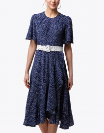 Beulah - Indu Navy Daisy Printed Silk Dress