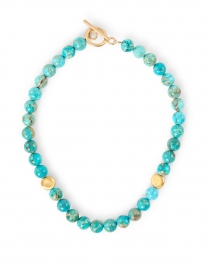 Turquoise and Gold Nugget Beaded Necklace