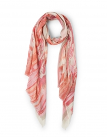 Pink Ibiza Ikat Print Silk Cashmere and Scarf