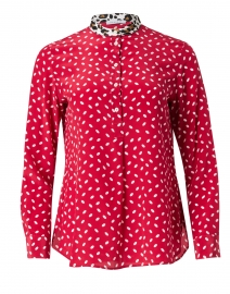 Red and White Dot Print Silk Blouse