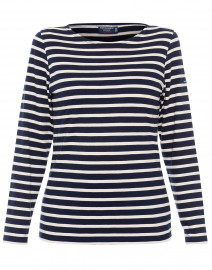Minquidame Navy and Ecru Striped Cotton Top