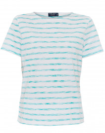 Etrille White and Aqua Space Dye Cotton Top