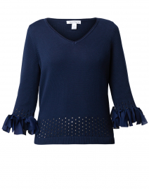 Eclipse Navy Cotton Bow Trim Sweater