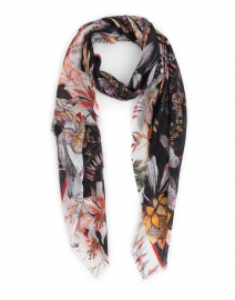 Cream and Black Floral Printed Modal and Cashmere Scarf