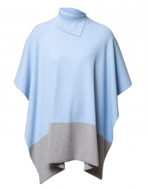 Ice Blue and Heather Grey Turtleneck Poncho