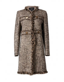 Brown and White Wool Tweed Jacket