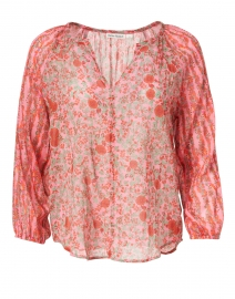 Lucy Pink and Red Rhody Floral Cotton Top
