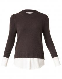 Eton Brown Wool Cashmere Sweater with White Underlayer