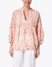 120% Lino - Desert Floral Print Linen Pintucked Shirt
