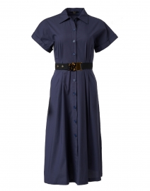 Navy Stretch Cotton Shirt Dress
