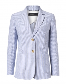 Pepli Blue and White Striped Stretch Cotton Linen Blazer