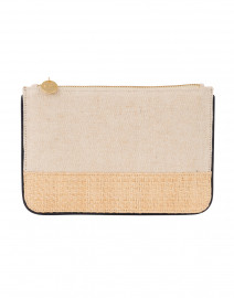 Elie Canvas and Straw Pouch with Navy Piping