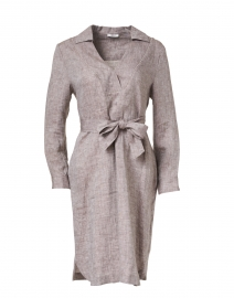 Grey Linen Dress with Brilliant Detail