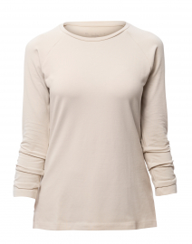 Sand Pima Cotton Ruched Sleeve Tee