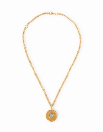 Chalcedony Blue Gold Pendant Necklace