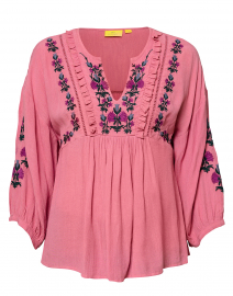 Leslie Heather Rose Floral Embroidered Top