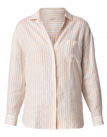 Basilio Pink and Beige Striped Linen Shirt