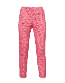 Audrey Pink and Red Floral Printed Stretch Cotton Pant