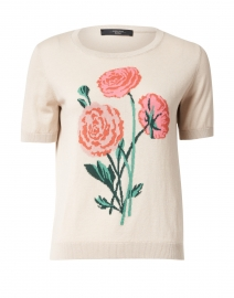 Padana Beige and Floral Intarsia Silk and Cotton Sweater