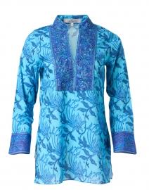 Blue Batik Floral Print Tunic